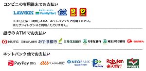 コンビニ(番号端末式)・銀行ATM・ネットバンキングご利用料金